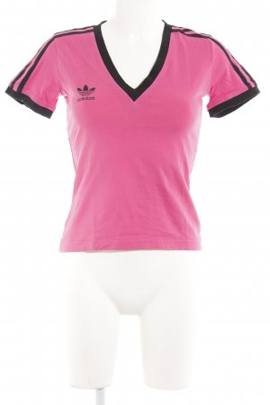 Adidas T-Shirt schwarz-pink Streifenmuster sportlicher Stil