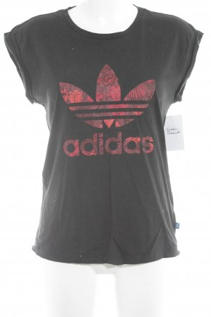 Adidas T-Shirt schwarz-rot florales Muster Casual-Look