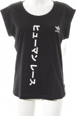 Adidas T-Shirt schwarz-weiß grafisches Muster schlichter Stil