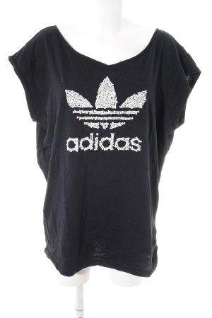 Adidas Camiseta negro-blanco estampado temático look casual