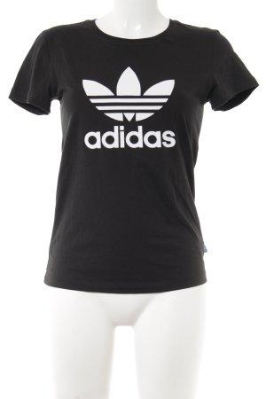 Adidas T-Shirt schwarz-weiß platzierter Druck Casual-Look