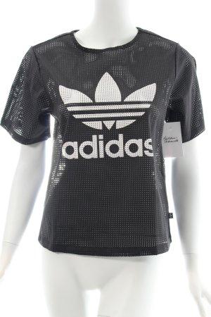 Adidas T-Shirt schwarz-weiß Schriftzug gedruckt sportlicher Stil
