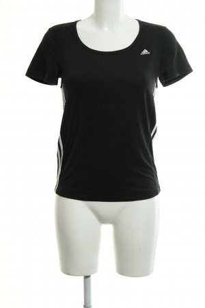 Adidas T-Shirt schwarz-weiß Streifenmuster Casual-Look