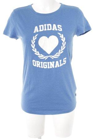 Adidas T-Shirt stahlblau-weiß Casual-Look