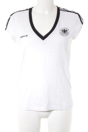 Adidas T-Shirt weiß-schwarz Motivdruck sportlicher Stil