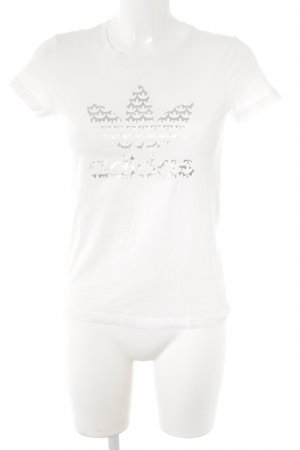 Adidas T-Shirt weiß-silberfarben Motivdruck Casual-Look