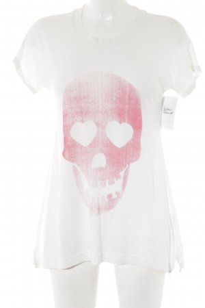 Adidas T-Shirt wollweiß-magenta Motivdruck Casual-Look