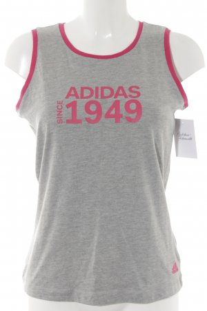 Adidas Tanktop hellgrau-pink Schriftzug gedruckt sportlicher Stil