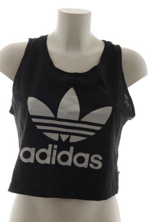 Adidas Tanktop schwarz-weiß Schriftzug gedruckt sportlicher Stil