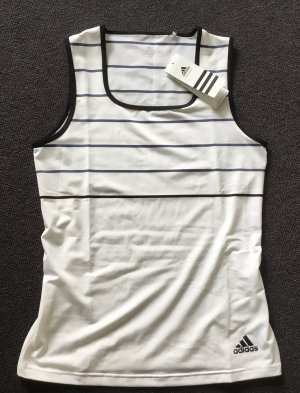 Adidas T-shirt de sport blanc-bleu foncé tissu mixte