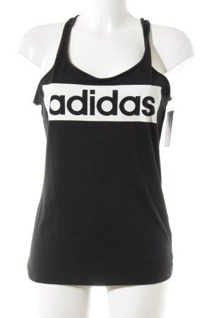 Adidas Trägertop schwarz-weiß Schriftzug gedruckt Casual-Look