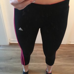 Adidas Pantalón tobillero negro-magenta