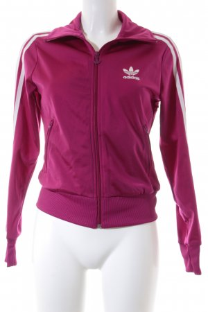 Adidas Übergangsjacke purpur-weiß grafisches Muster sportlicher Stil