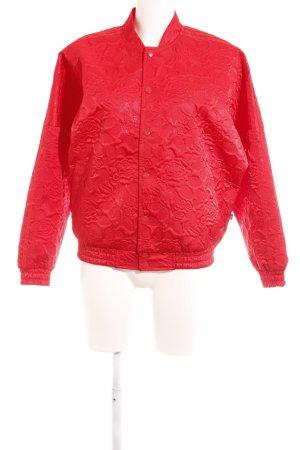 Adidas Übergangsjacke rot florales Muster Stoffeinsätze