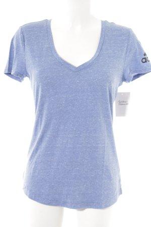 Adidas V-Ausschnitt-Shirt stahlblau meliert Casual-Look