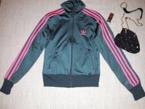 Adidas Zipjacke in Anthrazit mit pinken Streifen