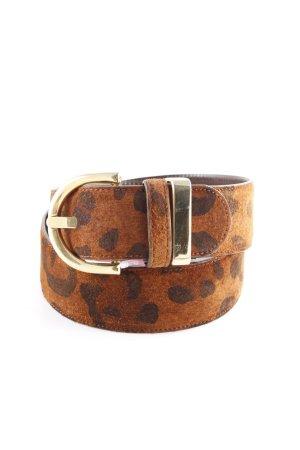 Adolf Cintura di pelle cognac-nero Stampa leopardata impronta animale