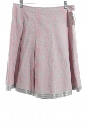 Adolfo Dominguez Plaid Skirt light grey-pink floral pattern elegant