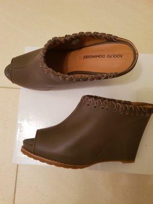 Adolfo Dominguez Heel Pantolettes grey brown-camel