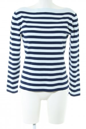 Adolfo Dominguez Crewneck Sweater blue-turquoise striped pattern casual look