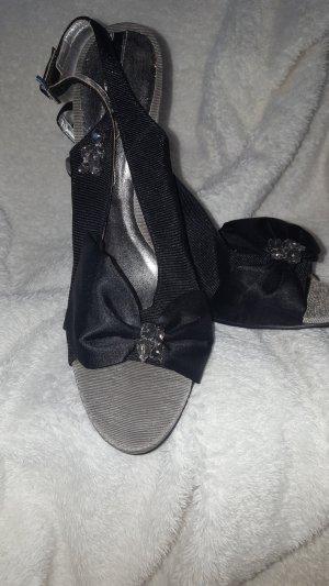 Adolfo Dominguez Hoge hakken sandalen zwart-zilver Gemengd weefsel