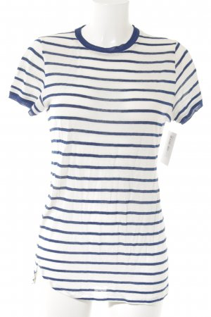 Adolfo Dominguez T-Shirt natural white-blue horizontal stripes casual look
