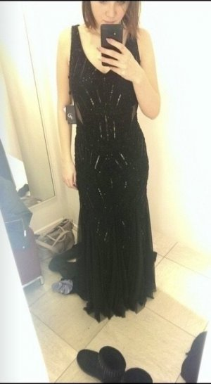 Adrianna Papell Abendkleid Abiballkleid Pailetten schwarz Rückenausschnitt