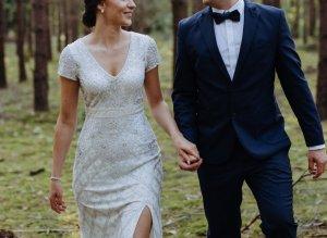 Adrianna Papell Robe de mariée blanc