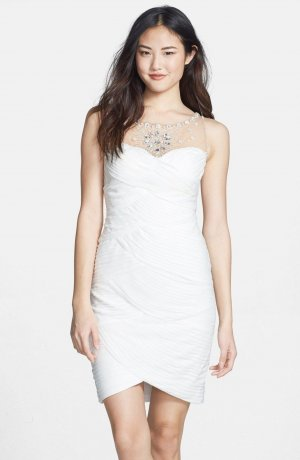 Adrianna Papell Cocktail Dress white polyester