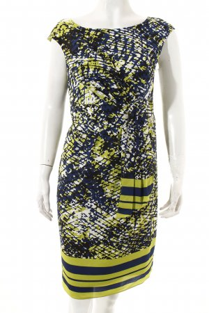 Adrianna Papell Dress lime-green-dark blue abstract pattern casual look