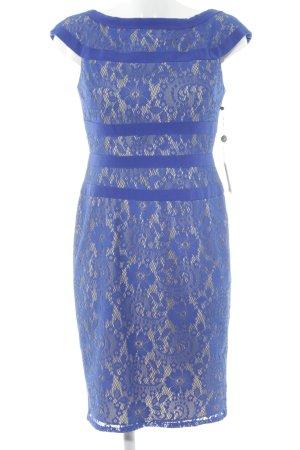Adrianna Papell Abito in pizzo blu-crema motivo floreale elegante