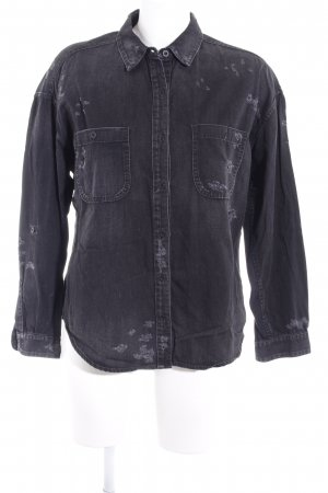 Adriano Goldschmied Denim Shirt anthracite distressed style