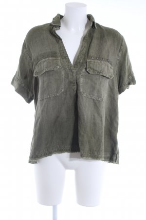 Adriano Goldschmied Short Sleeved Blouse olive green casual look