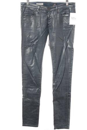 Adriano Goldschmied Pantalón de tubo gris oscuro look efecto mojado