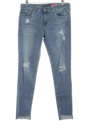Adriano Goldschmied Skinny Jeans steel blue-light grey distressed style