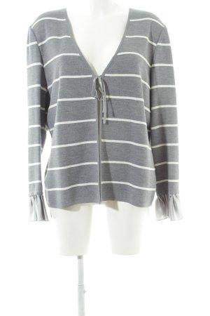 ae elegance Cardigan gris clair-blanc motif rayé style décontracté