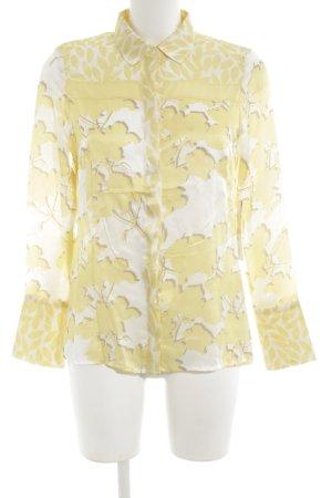 ae elegance Blouse en soie jaune primevère-blanc cassé motif de fleur