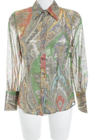 ae elegance Blusa de seda estampado floral estampado azteca