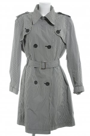 ae elegance Trench Coat black-white check pattern casual look