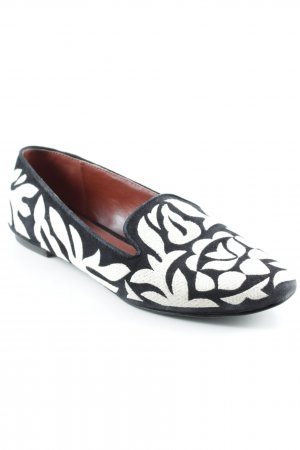 AERIN Slippers black-natural white floral pattern extravagant style
