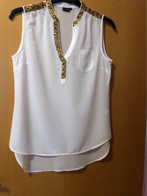 Bodyflirt Mouwloze blouse wit-goud