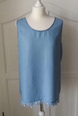 ärmellose Bluse aus Lyocell mit Spitze Gr. 42 nur sehr wenig getragen