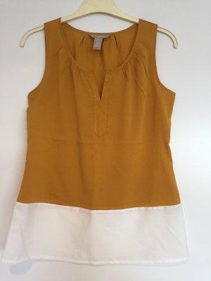 Ärmellose Bluse banana Republik goldocker/weiß XS
