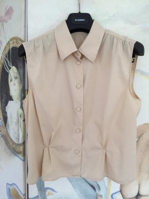 Ärmellose Bluse beige, tailliert