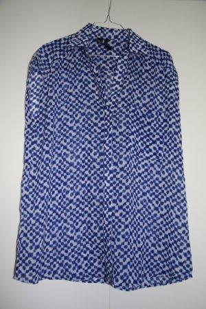 Ärmellose Bluse blau weiß gemustert oversized weiter Schnitt Gr. M