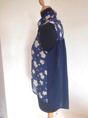 Ärmellose Bluse Blumen blau transparent Babydoll fließender Stoff Blogger Boho