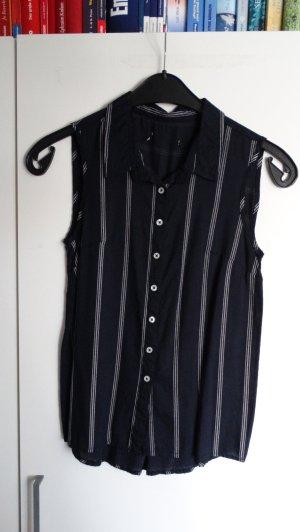 Mouwloze blouse donkerblauw-wit