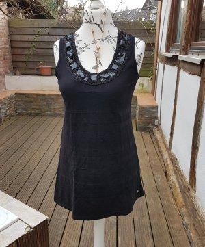 Ärmellose Bluse Gr. 38 schwarz Pailletten