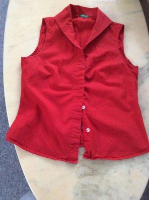Benetton Sleeveless Blouse red cotton