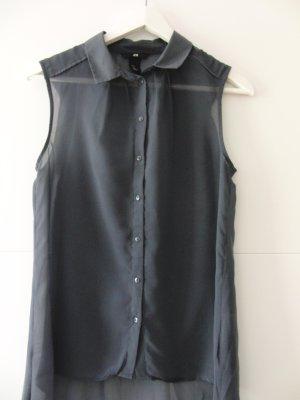 Ärmellose Bluse grau leicht transparent